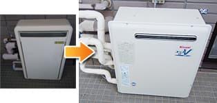 リンナイ ガス給湯器施工事例OURB-2420DAR→RUF-A2400AG(A)
