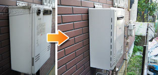 ほっとハウス ノーリツ ガス給湯器施工事例GT-2012SAWX→GT-C206SAWX BL
