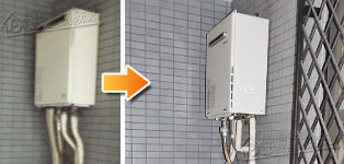 ほっとハウス リンナイ ガス給湯器施工事例KG-A824RFW-RSA→RUF-A2405SAW(A)