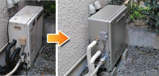 ノーリツ ガス給湯器施工事例GT-2427SARX→GT-C2462SARX BL