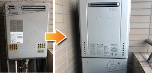 ノーリツ ガス給湯器施工事例GT-2417AWX→GT-C2462AWX BL