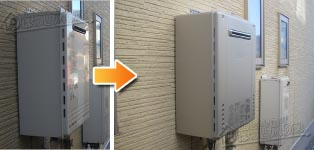 ノーリツ ガス給湯器施工事例GT-2028SAWX→GT-C2062SAWX BL