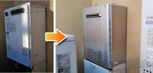 ノーリツ ガス給湯器施工事例GT-2412SWX→GT-C2462SAWX BL