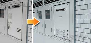 ノーリツ ガス給湯器施工事例GT-2027SAWX→GT-2060SAWX-1 BL